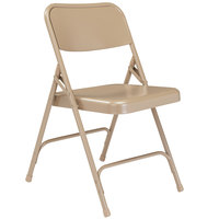 National Public Seating 201 Beige Premium Metal Folding Chair