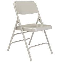 National Public Seating 302 Gray Premium Metal Triple-Brace Folding Chair