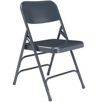 National Public Seating 304 Char-Blue Premium Metal Triple-Brace Folding Chair