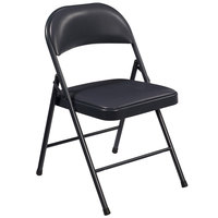 National Public Seating 954 Commercialine Blue Metal Folding Chair with Blue Padded Vinyl Seat
