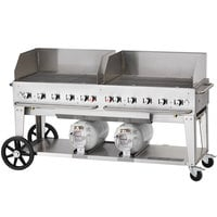 Crown Verity CCB-72WGP 72 inch Outdoor Club Grill with 2 Horizontal Propane Tanks and Wind Guard Package