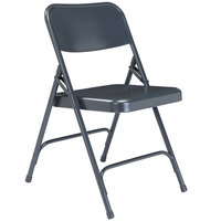 National Public Seating 204 Char-Blue Premium Metal Folding Chair