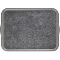 Cambro 1418VCH381 14 inch x 18 inch Pearl Gray Rectangular Fiberglass Customizable Non-Skid Versa Camtray with Handles - 12/Case