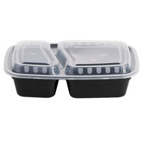 Choice 30 oz. Black 8 3/4 inch x 6 inch x 2 3/4 inch 2-Compartment Rectangular Microwavable Heavyweight Container with Lid - 25/Pack