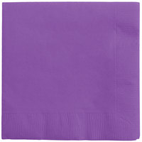 Creative Converting 318923 Amethyst Purple 3-Ply Beverage Napkin - 500/Case
