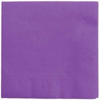 Creative Converting 318923 Amethyst Purple 3-Ply Beverage Napkin   - 500/Case