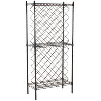 Regency 14 inch x 30 inch Black Epoxy Wire Wine Rack Kit with 64 inch Stationary Posts and 4 Shelves