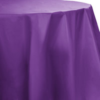 Creative Converting 318932 82 inch Amethyst Purple OctyRound Plastic Table Cover - 12/Case