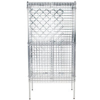 Regency 18 inch x 36 inch Chromate Finish Wire Wine Rack Kit with 74 inch Chrome Stationary Posts, 4 Shelves, and Security Cage