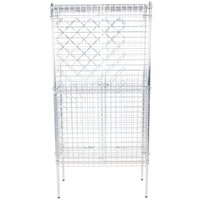 18 inch x 36 inch Chromate Finish Wire Wine Rack Kit with 74 inch Chrome Stationary Posts, 4 Shelves, and Security Cage