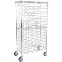 Regency 18 inch x 36 inch Chromate Finish Mobile Wire Wine Rack Kit with 64 inch Chrome Mobile Posts, 4 Shelves, and Security Cage