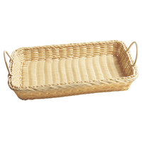 GET WB-1524-N Designer Polyweave 18 inch x 12 1/4 inch x 2 1/2 inch Natural Rectangular Plastic Basket with Handles - 12/Pack