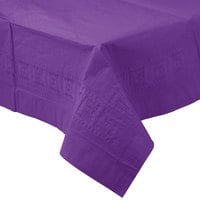 Creative Converting 318936 54 inch x 108 inch Amethyst Purple Tissue / Poly Table Cover - 24/Case