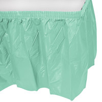 Creative Converting 318892 14' x 29 inch Fresh Mint Green Plastic Table Skirt