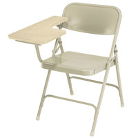 National Public Seating 5201R Beige Steel Premium Folding Chair with Right Light Oak Tablet Arm