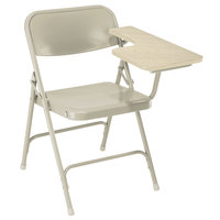 National Public Seating 5201L Beige Steel Premium Folding Chair with Left Light Oak Tablet Arm