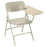 National Public Seating 5201L Beige Steel Premium Folding Chair with Left Light Oak Tablet Arm