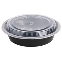 Choice 24 oz. Black 7 1/4 inch Round Microwavable Heavyweight Container with Lid - 10/Pack