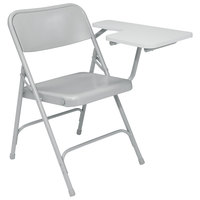 National Public Seating 5202L Gray Steel Premium Folding Chair with Left Gray Tablet Arm