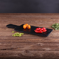 Elite Global Solutions M510RC Fo Slate 10 1/2 inch x 5 1/2 inch Faux Slate Serving Board with Handle