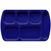 GET TR-151 Navy Blue Melamine 10 inch x 15 1/2 inch Right Hand 6 Compartment Tray - 12/Pack