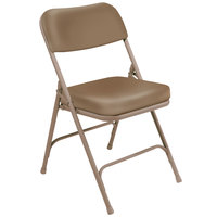 National Public Seating 3201 Beige Steel Folding Chair with 2 inch Beige Vinyl Padded Back and Seat