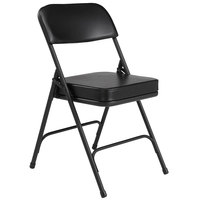 National Public Seating 3210 Black Steel Folding Chair with 2 inch Black Vinyl Padded Back and Seat