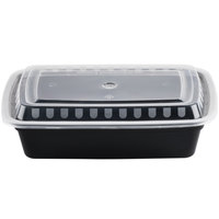 Choice 38 oz. Black 8 3/4 inch x 6 1/4 inch x 2 inch Rectangular Microwavable Heavyweight Container with Lid - 10/Pack