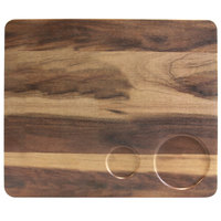 Elite Global Solutions M12105RC Fo Bwa 12 inch x 10 inch Faux Hickory Wood Serving Board with Double Ramekin Compartment