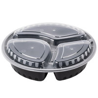 Choice 33 oz. Black 9 inch Round 3-Compartment Microwavable Heavyweight Container with Lid - 10/Pack