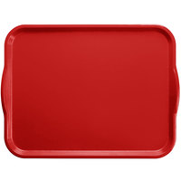 Cambro 1520H221 15 inch x 20 inch Ever Red Rectangular Customizable Fiberglass Camtray with Handles - 12/Case