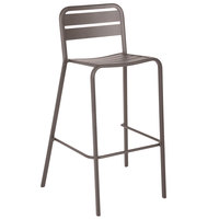 BFM Seating DV552ER Vista Earth Stackable Aluminum Outdoor / Indoor Bar Height Chair