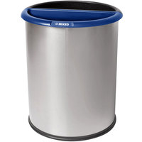 Commercial Zone 784129 Precision 12.8 Qt. / 3.2 Gallon Classic Stainless Steel InnRoom Recycler Trash Receptacle / Wastebasket with Black and Blue Liners
