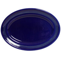 Tuxton Concentrix CCH-116 Cobalt 11 1/2 inch x 8 3/8 inch Oval China Platter 12/Case