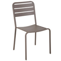 BFM Seating DV452ER Vista Earth Stackable Aluminum Outdoor / Indoor Side Chair