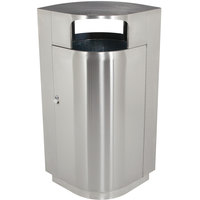 Commercial Zone 782129 Leafview 40 Gallon Stainless Steel Trash Receptacle