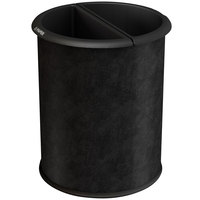 Commercial Zone 780946 Precision 12.8 Qt. / 3.2 Gallon Black Vinyl InnRoom Recycler Trash Receptacle / Wastebasket with Black Liners