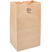 Duro Bulwark Extra Heavy-Duty 20 lb. Shorty Brown Paper Bag - 500/Bundle
