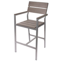 BFM Seating PH201BGRTK-SG Seaside Soft Gray Aluminum Outdoor / Indoor Armed Bar Height Chair with Gray Synthetic Teak Back and Seat