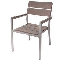 BFM Seating PH201CGRTK-SG Seaside Soft Gray Stackable Aluminum Outdoor / Indoor Armchair with Gray Synthetic Teak Back and Seat