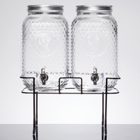 Double 1.5 Gallon Style Setter Rooster Glass Beverage Dispenser with Metal Stand