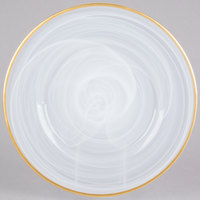 The Jay Companies 13 inch Round Silver Alabaster Glass Charger Plate with Gold Rim