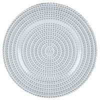 The Jay Companies 13 inch Round Silver Tripoli Glass Charger Plate