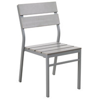 BFM Seating PH202CGRTK-SG Seaside Soft Gray Stackable Aluminum Outdoor / Indoor Side Chair with Gray Synthetic Teak Back and Seat