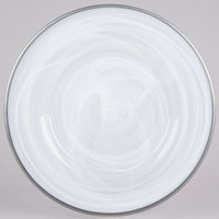 The Jay Companies 1470354 13 inch Round White Alabaster Glass Charger Plate with Silver Rim
