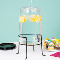 The Jay Companies 210947-GB 2.5 Gallon Round Glass Beverage Dispenser with Metal Stand