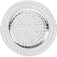 The Jay Companies 1270252-4 13 inch Round Silver Crocodile Polypropylene Charger Plate