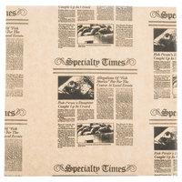 American Metalcraft PPCN1010 10 inch x 10 inch Natural Newspaper Print Deli Sandwich Wrap Paper - 1000 / Case