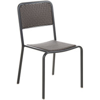BFM Seating DV453MOBL Rio Black Stackable Aluminum Outdoor / Indoor Side Chair with Mocha Synthetic Wicker Back and Seat