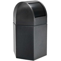 Commercial Zone 73790199 PolyTec 45 Gallon Black Hexagonal Waste Container with Dome Lid